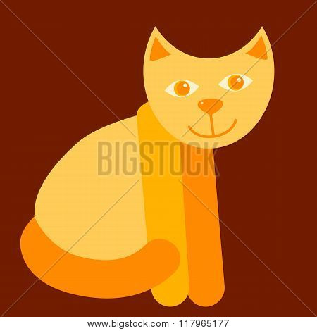 cheerful red cat isolated