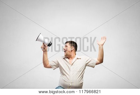 Man making announcement