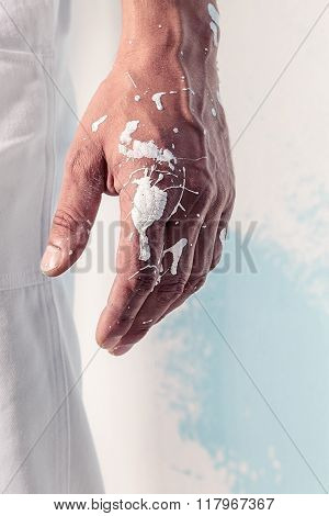 White Paint Dirty Workman Hand