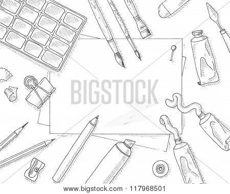 Art tools mockup