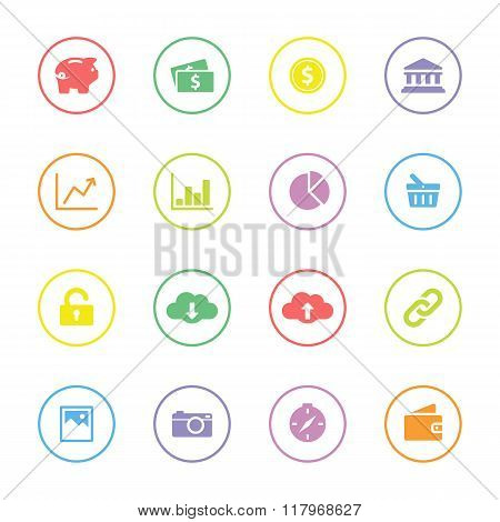Colorful simple flat icon set 4