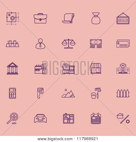 Mortgage And Home Loan Purple Line Icons