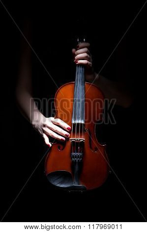 Woman's hands on violin