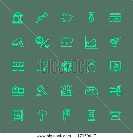 Banking And Financial Green Color Line Icons