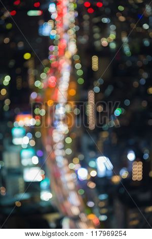 Aerial view blurred bokeh light Tokyo city road night view