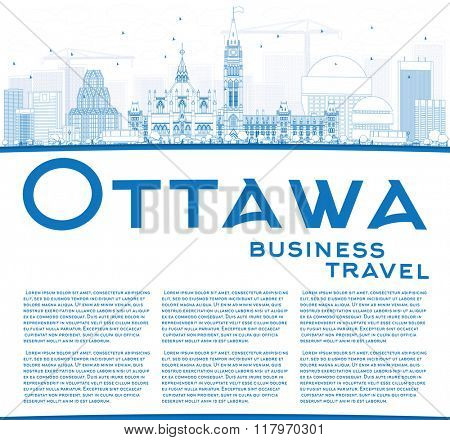 Outline Ottawa Skyline with Blue Buildings and Copy Space. Business travel and tourism concept with modern buildings. Image for presentation, banner, placard and web site.