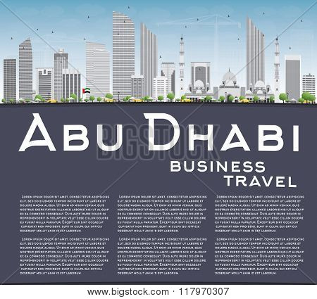 Abu Dhabi City Skyline with Gray Buildings and Copy Space. Business Travel and Tourism Concept with Modern Buildings. Image for Presentation Banner Placard and Web Site.