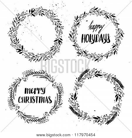 Hand Drawn Vector Illustration. Vintage Decorative Kit Of Christmas Laurels And Wreaths. Perfect For