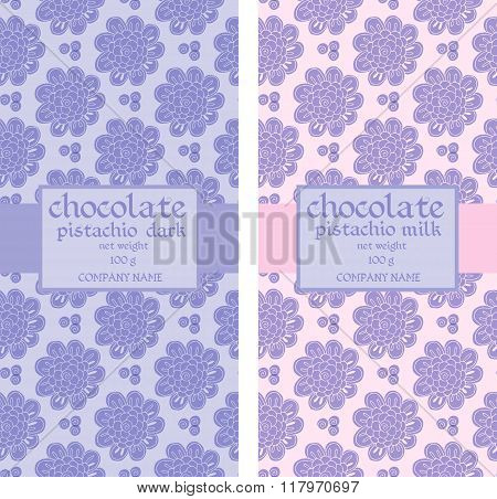 Collection Of Seamless Patterns For Chocolate And Cocoa Packaging. Vector Illustration.