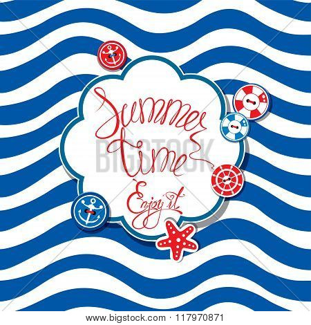 Card With Buttons And Frame On Stripe Background. Round Frame With Calligraphic Words Summer Time! E