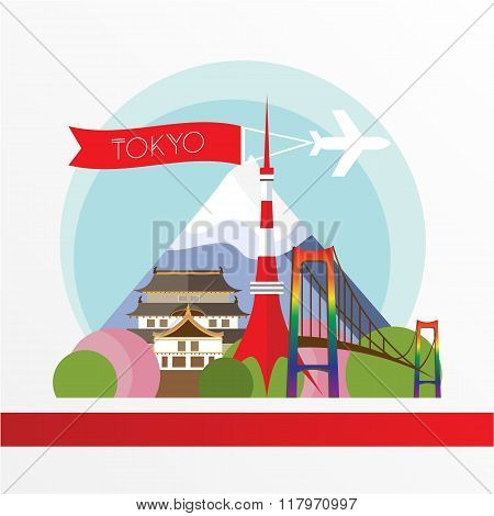 Tokyo, detailed silhouette. Trendy vector illustration, flat style. Stylish colorful  landmarks. The