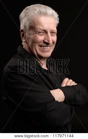 Happy smiling elder man
