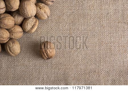 Walnuts on sacking