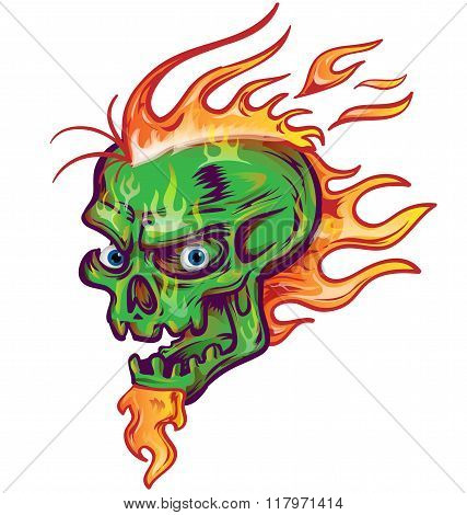 green skull sketch design on white background with flame
