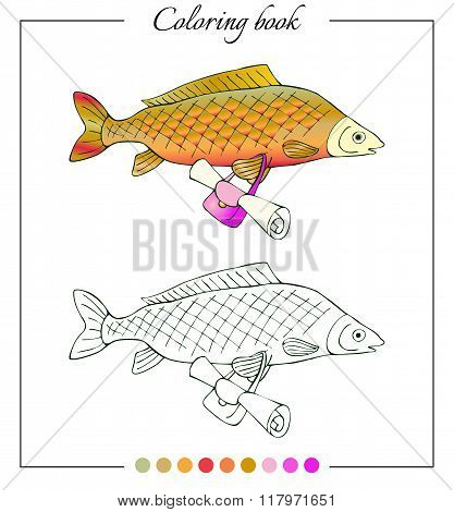 Coloring Book With Fresh Water Fish Carp With Bag. Cartoon Vector Illustration For Children
