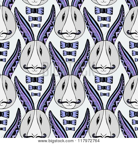 Hipster rabbits pattern. Vector zentangle creative repeating art. Seamless print for textile or wrap