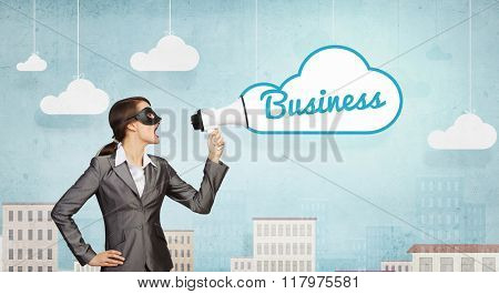 Businesswoman wearing black mask