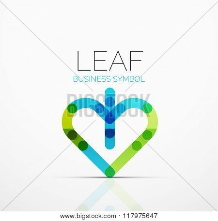 Vector abstract logo idea, eco leaf, nature plant, green concept business icon. Creative logotype design template