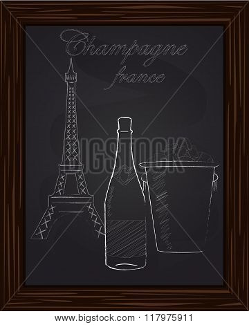 Beautiful Bucket With Ice And Champagne Bottle On The Background Eifel Tower