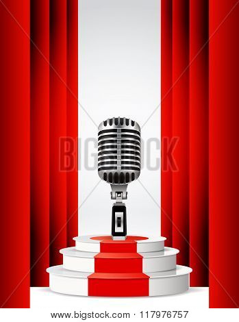 Background with retro microphone and podium.
