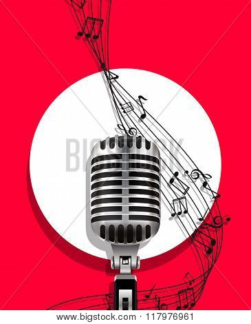 Background with retro microphone.