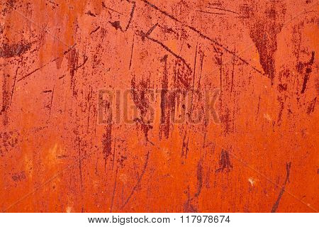 Oxidized Rust Metal Surface Making An Abstract Texture Red