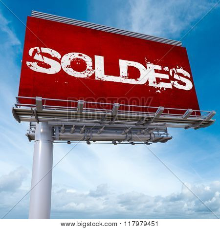 3D rendering of an advertisement billboard with the word sales in French