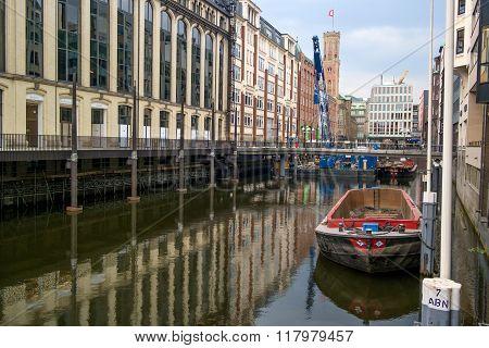 Hamburg, Germany - May 16, 2013: Canal and bridge in Hamburg.
