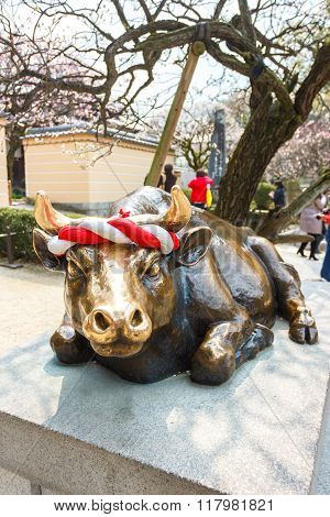 Cow Statue In Japan Temple