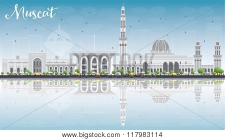 Muscat Skyline with Gray Buildings, Blue Sky and Reflections. Vector illustration. Business Travel and Tourism Concept with Historic Buildings. Image for Presentation Banner Placard and Web Site.