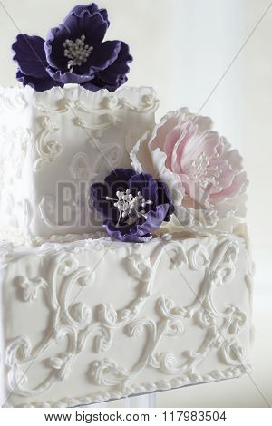 Beautiful White Wedding Cake With Floral Decoration