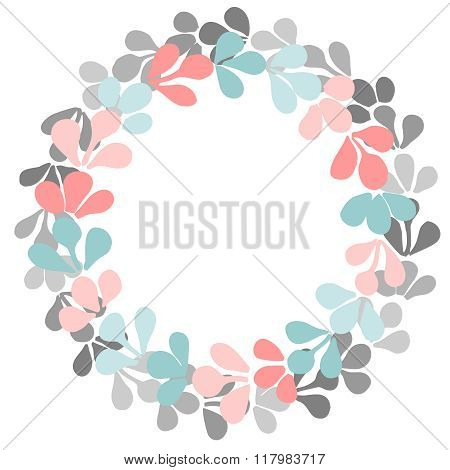 Pastel laurel wreath vector frame isolated on white background