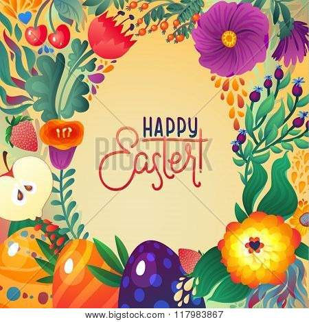 Happy Easter Greeting Card. Floral And Berry Banner  Festive Background. Decorative Happy Holiday Il
