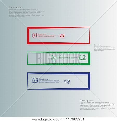 Square Infographic Template Horizontaly Divided To Three Outline Color Parts