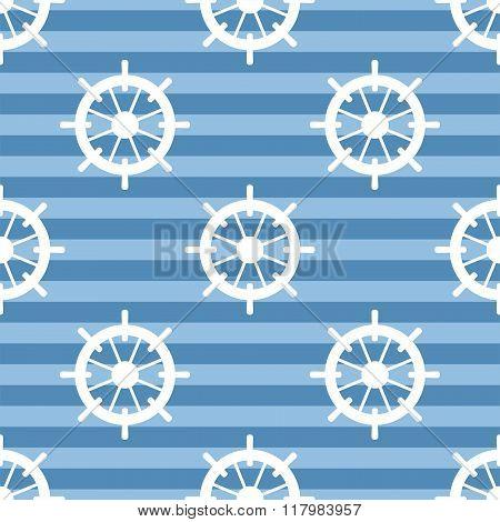 Tile sailor vector pattern with white rudder on navy blue stripes background