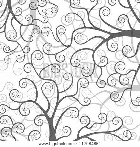 Stylized trees on white background.