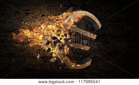 Euro symbol in fire