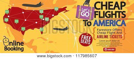 Cheap Flight To America 1500X600 Banner Vector Illustration.