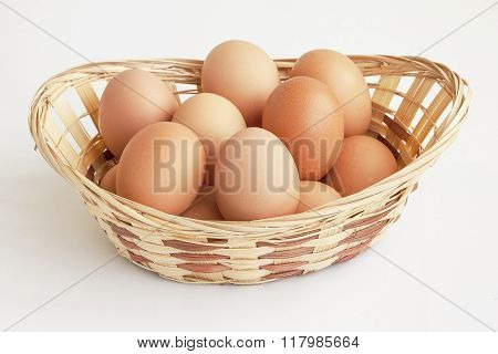 Eggs Of Brown Color In A Straw Basket