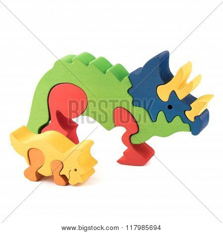 Color Wooden Dino Toy