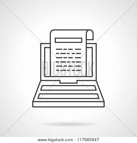 Online news icon flat line design vector icon