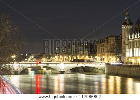 The Pont Au Change At Night, Paris, France.