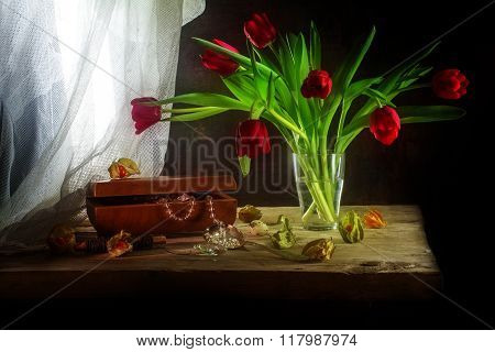 Red Tulips, Jewelery Box, Some Physalis And White Curtain, Still Life In Painting Style On A Rustic