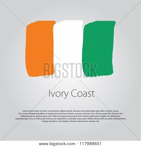 Ivory Coast Flag With Colored Hand Drawn Lines In Vector Format