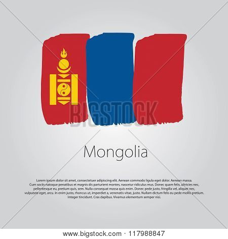 Mongolia Flag With Colored Hand Drawn Lines In Vector Format