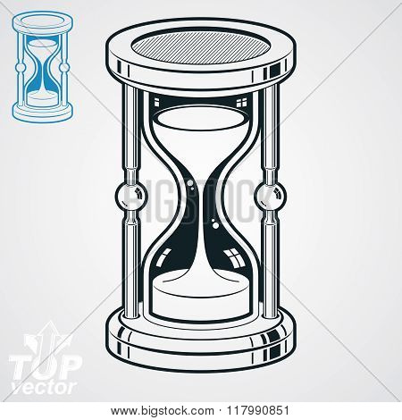 Retro Dimensional Vector Sand-glass Illustration, Simple Additional Version. Old-fashioned Decorativ