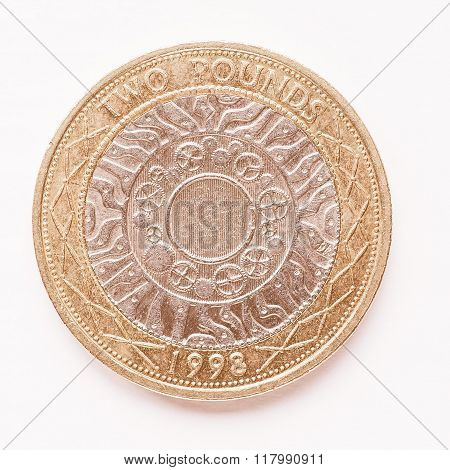 Uk 2 Pounds Coin Vintage