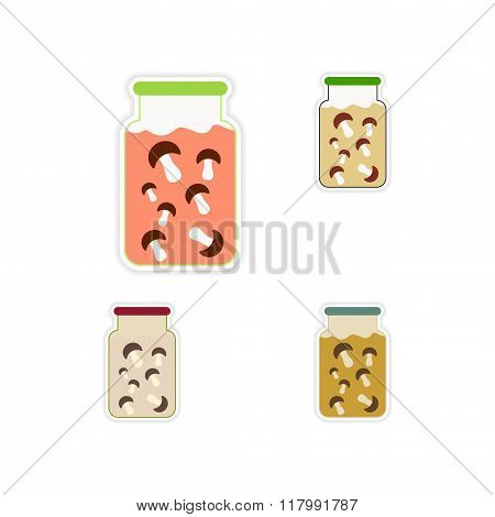 Set of paper stickers on white background Bank pickled mushrooms