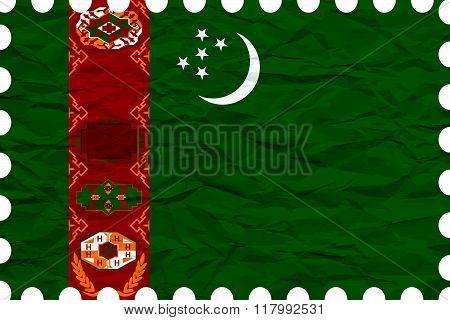 Wrinkled Paper Turkmenistan Stamp