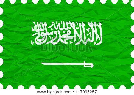 Wrinkled Paper Saudi Arabia Stamp